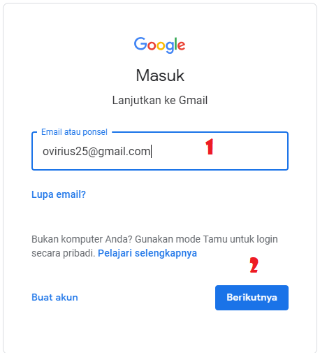 cara mereset password gmail