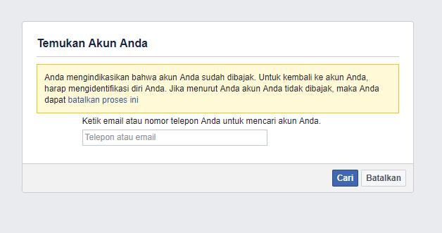 lupa kata sandi facebook dan no hp hilang