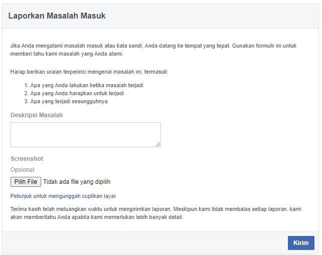 cara menghubungi pihak facebook lupa password